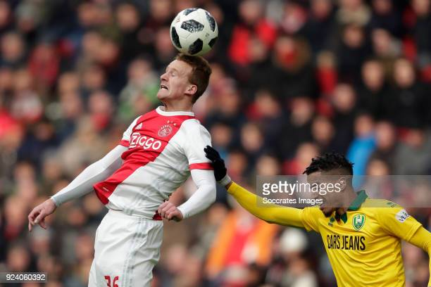 Dani de Wit of Ajax Tyronne Ebuehi of ADO Den Haag during the Dutch Eredivisie match between Ajax v ADO Den Haag at the Johan Cruijff Arena on...