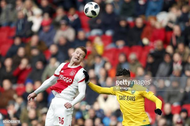 Dani de Wit of Ajax Tyronne Ebuehi of ADO Den Haag during the Dutch Eredivisie match between Ajax Amsterdam and ADO Den Haag at the Amsterdam Arena...