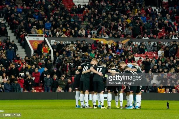 Dani de Wit of AZ Alkmaar, Oussama Idrissi of AZ Alkmaar, Teun Koopmeiners of AZ Alkmaar, during the UEFA Europa League match between Manchester...