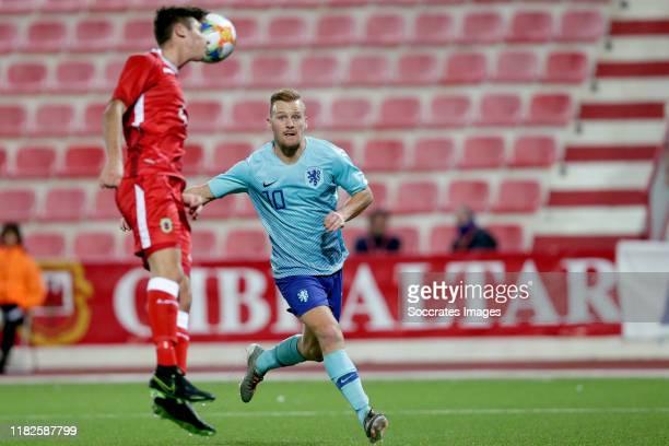 Dani de Wit of Holland U21 during the U21 Men match between Gibraltar U21 v Holland U21 at the Victoria Stadium on November 14 2019 in Gibraltar...