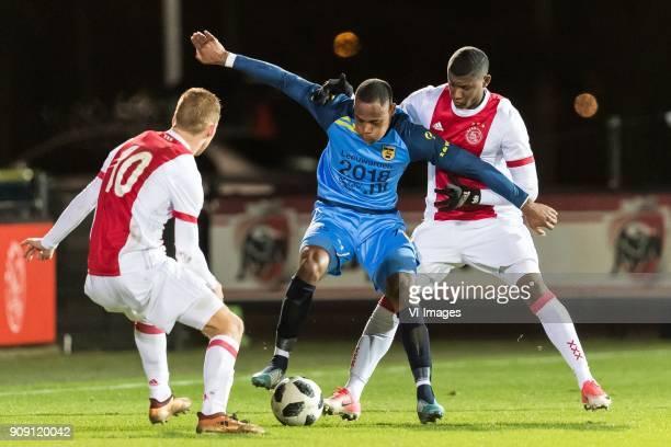 Dani de Wit of Jong Ajax Alvin Daniels of SC Cambuur Luis Orejuela of Jong Ajax during the Jupiler League match between jong Ajax and SC Cambuur...