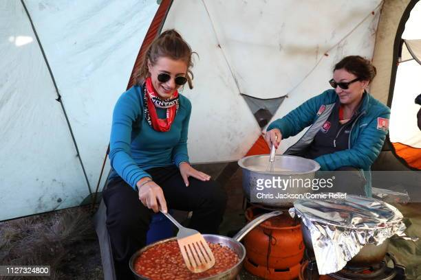 Dani Dyer and Shirley Ballas make breakfast at the camp on day 3 of 'Kilimanjaro The Return' for Red Nose Day on February 25 2019 in Arusha Tanzania...