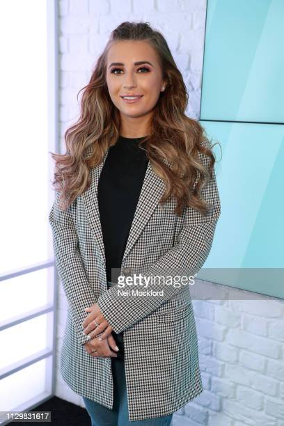 Dani Dyer visits Lucie Cave at Heat Radio on February 15 2019 in London England