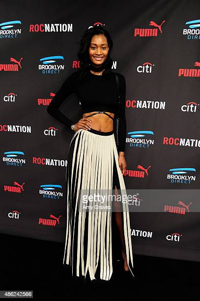Dani Evans attends the Roc Nation Grammy Brunch 2015 on February 7 2015 in Beverly Hills California