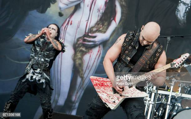Dani Filth and James Mcilroy of the British band Cradle of Filth perform at Download Festival at Donington Park on June 10 2018 in Castle Donington...