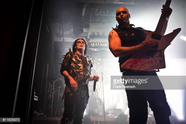 Dani Filth and James Mcilroy of the British band Cradle of Filth perform live on stage during a concert at the Columbia Theater on January 28 2018 in...