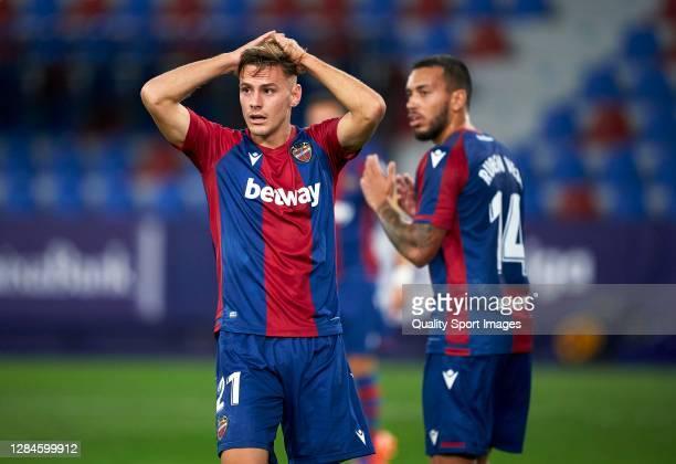 Dani Gomez of Levante reacts during the La Liga Santander match between Levante UD and Deportivo Alavés at Ciutat de Valencia Stadium on November 08...