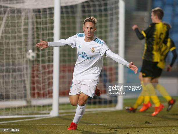 Dani Gomez of Real Madrid celebrates after scoring his team's second goal during the UEFA Youth Champions League group H match between Real Madrid...
