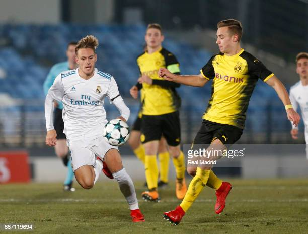 Dani Gomez of Real Madrid duels for the ball during the UEFA Youth Champions League group H match between Real Madrid and Borussia Dortmund at...