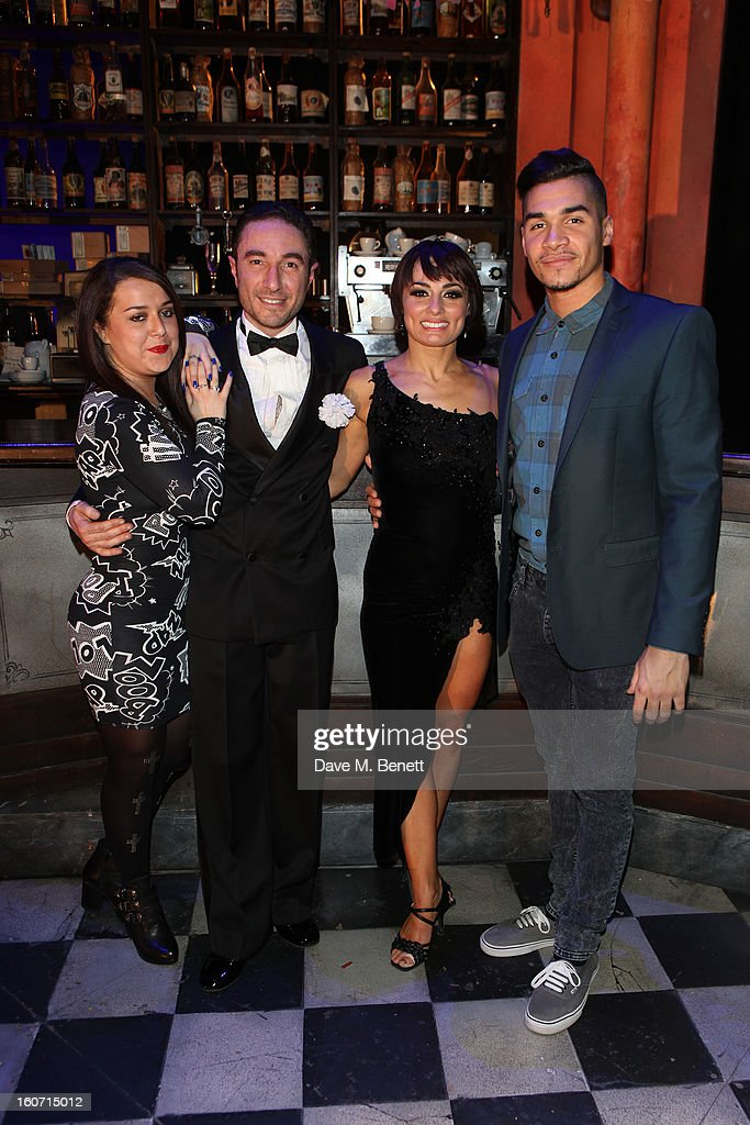 Dani Harmer, Vincent Simone, Flavia Cacace and Louis Smith attend opening night of 'Midnight Tango' at the Phoenix Theatre on February 4, 2013 in London England.