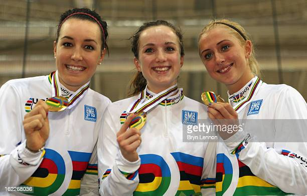 Dani King Elinor Barker and Laura Trott of Great Britain pose with their medals after winning the Women's Team Pursuit during day two of the UCI...