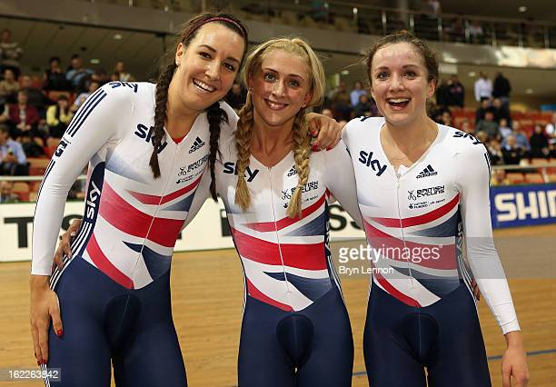 Dani King Laura Trott and Elinor Barker of Great Britain celebrate winning the Women's Team Pursuit during day two of the UCI Track World...