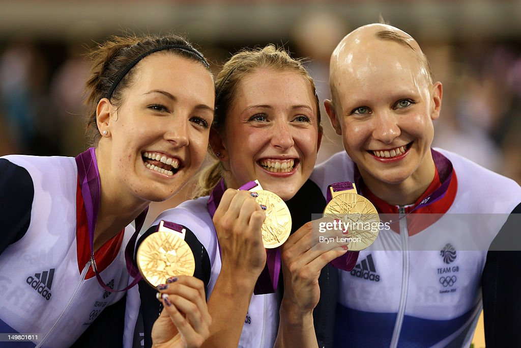 Dani King Laura Trott And Joanna Row Of Great Britain Pose With Their Gold