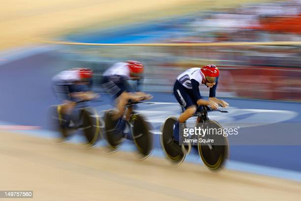 Dani King Laura Trott and Joanna Rowsell of Great Britain smile after setting a new world record in the Women's Team Pursuit Track Cycling qualifying...