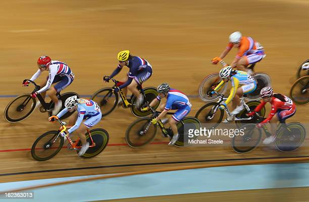 Dani King of Great Britain and Alzbeta Pavlendova of Slovakia lead the field during the women's scratch race final during day three of the UCI Track...