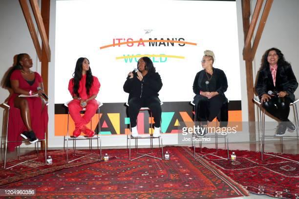 Dani Kwateng-Clark, Mj Rodriguez, Stella Meghie, Kasi Lemmons, and Nisha Ganatra speak onstage at Reebok x ARRAY: A Celebration of Women in Film at...