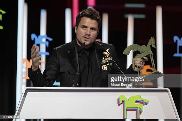 Dani Martin accepts a Ondas Award during the 63th Ondas Gala Awards 2016 at the Gran Teatre del Liceu on November 9 2016 in Barcelona Spain