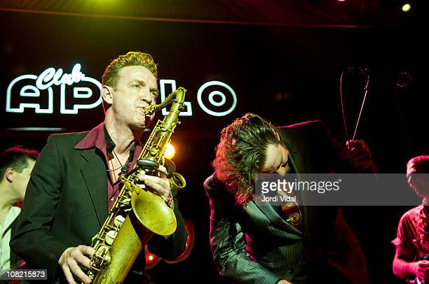 Dani Nello and Marc Tortorici perform on stage during 'Taboo Barcelona Burlesque Night' at Sala Apolo on January 20 2011 in Barcelona Spain