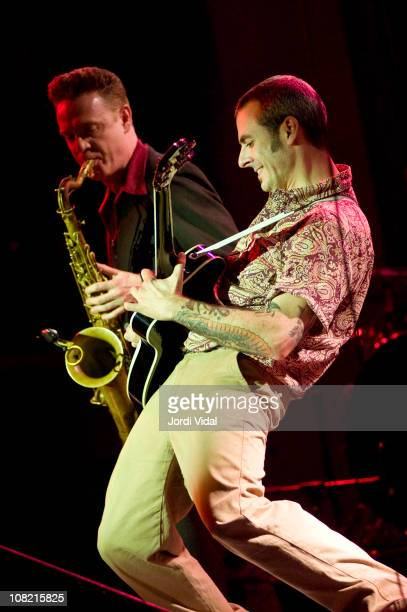 Dani Nello and Mario Cobo of Mambo Jambo perform on stage during 'Taboo Barcelona Burlesque Night' at Sala Apolo on January 20 2011 in Barcelona Spain