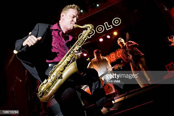 Dani Nello Ivan Kovacevic and Mario Cobo of Mambo Jambo perform on stage during 'Taboo Barcelona Burlesque Night' at Sala Apolo on January 20 2011 in...