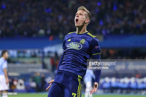 Dani Olmo of Dinamo Zagreb celebrates a goal during the UEFA Champions League group C match between Dinamo Zagreb and Manchester City at Maksimir...
