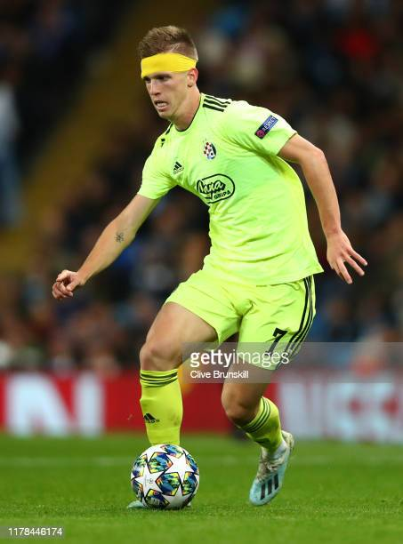 Dani Olmo of Dinamo Zagreb in action during the UEFA Champions League group C match between Manchester City and Dinamo Zagreb at Etihad Stadium on...