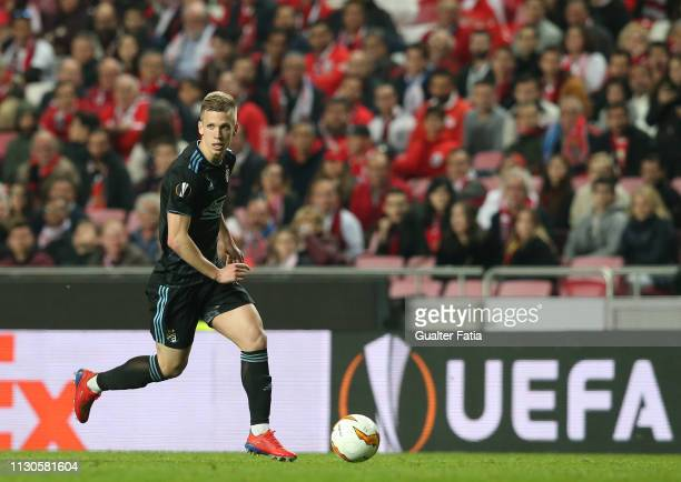 Dani Olmo of Dinamo Zagreb in action during the UEFA Europa League Round of 16 Second Leg match between SL Benfica and Dinamo Zagreb at Estadio da...