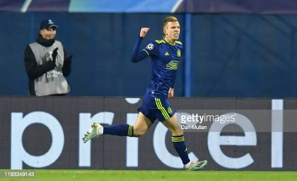 Dani Olmo of GNK Dinamo Zagreb celebrates after scoring his team's first goal during the UEFA Champions League group C match between Dinamo Zagreb...