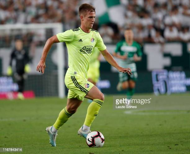 Dani Olmo of GNK Dinamo Zagreb controls the ball during the UEFA Champions League Third Qualifying Round match between Ferencvarosi TC and GNK Dinamo...