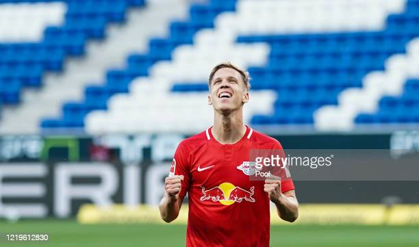 Dani Olmo of Leipzig celebrates after scoring his sides second goal during the Bundesliga match between TSG 1899 Hoffenheim and RB Leipzig at...