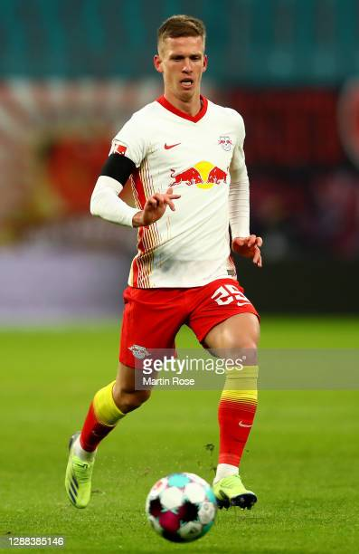 Dani Olmo of Leipzig controls the ball during the Bundesliga match between RB Leipzig and DSC Arminia Bielefeld at Red Bull Arena on November 28,...