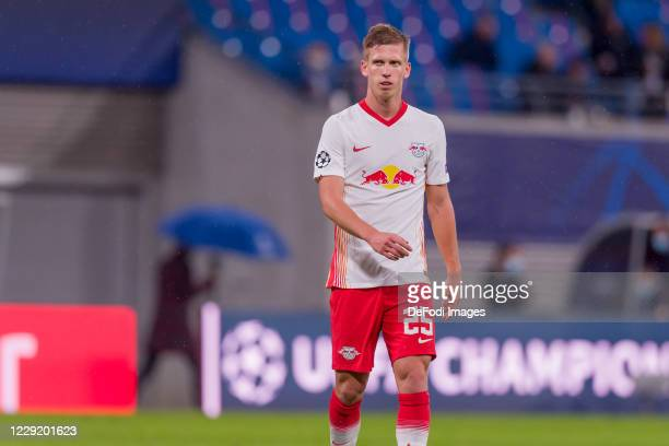 Dani Olmo of RasenBallsport Leipzig looks on during the UEFA Champions League Group H stage match between RB Leipzig and Istanbul Basaksehir at Red...