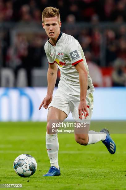 Dani Olmo of RB Leipzig controls the ball during the Bundesliga match between FC Bayern Muenchen and RB Leipzig at Allianz Arena on February 9 2020...
