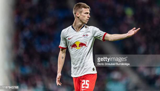 Dani Olmo of RB Leipzig gestures during the Bundesliga match between RB Leipzig and Borussia Mönchengladbach at Red Bull Arena on February 1 2020 in...