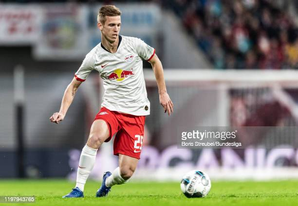 Dani Olmo of RB Leipzig in action during the Bundesliga match between RB Leipzig and Borussia Mönchengladbach at Red Bull Arena on February 1 2020 in...