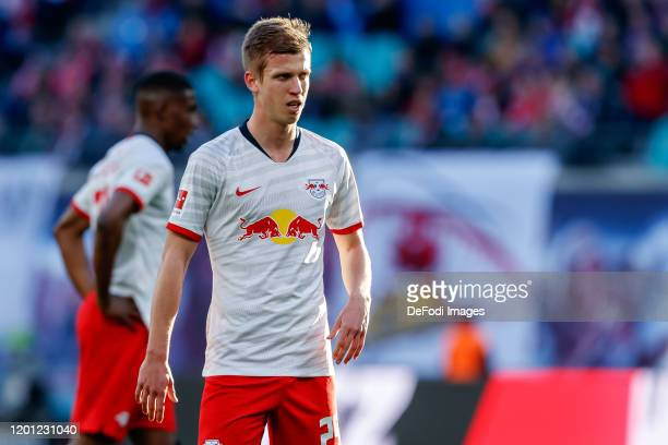Dani Olmo of RB Leipzig looks on during the Bundesliga match between RB Leipzig and SV Werder Bremen at Red Bull Arena on February 15, 2020 in...