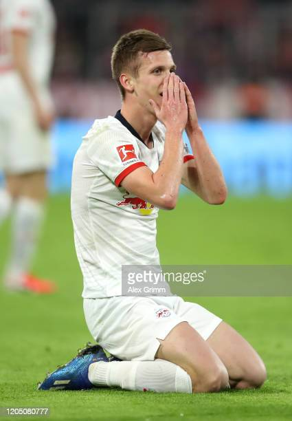 Dani Olmo of RB Leipzig reacts during the Bundesliga match between FC Bayern Muenchen and RB Leipzig at Allianz Arena on February 09, 2020 in Munich,...