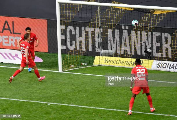 Dani Olmo of RB Leipzig scores their team's second goal during the Bundesliga match between Borussia Dortmund and RB Leipzig at Signal Iduna Park on...