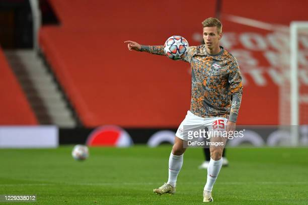Dani Olmo of RB Leipzig warms up during the UEFA Champions League Group H stage match between Manchester United and RB Leipzig at Old Trafford on...