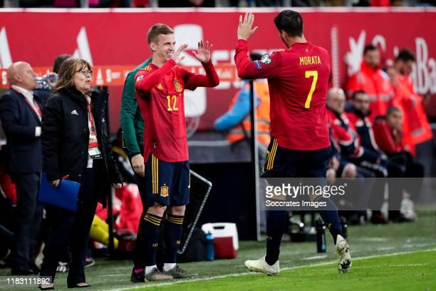 Dani Olmo of Spain, Alvaro Morata of Spain during the EURO Qualifier match between Spain v Malta on November 15, 2019