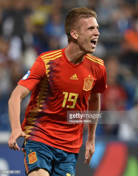 Dani Olmo of Spain celebrates after scoring goal 31 during the 2019 UEFA U21 SemiFinal match between Spain and France at Mapei Stadium Citta' del...