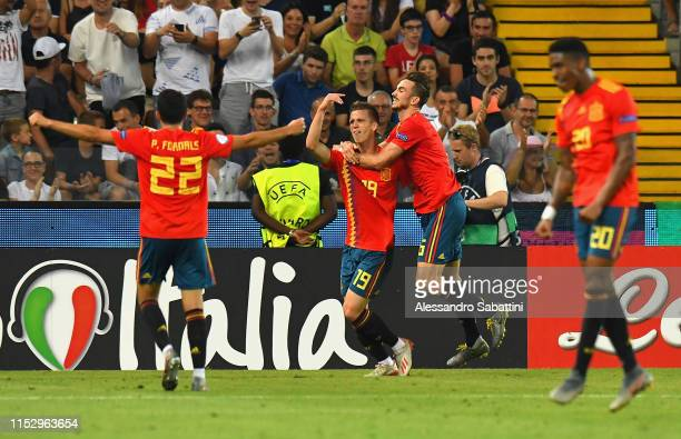 Dani Olmo of Spain celebrates after scoring his team second goal with team matesduring the 2019 UEFA U21 Final between Spain and Germanyat Stadio...