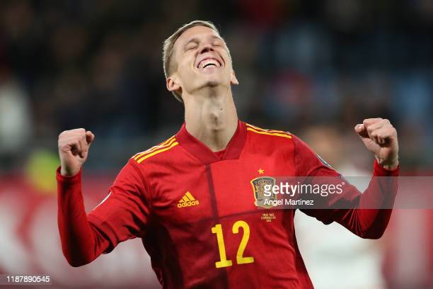 Dani Olmo of Spain celebrates after scoring his team's fifth goal during the UEFA Euro 2020 Qualifier between Spain and Malta on November 15 2019 in...