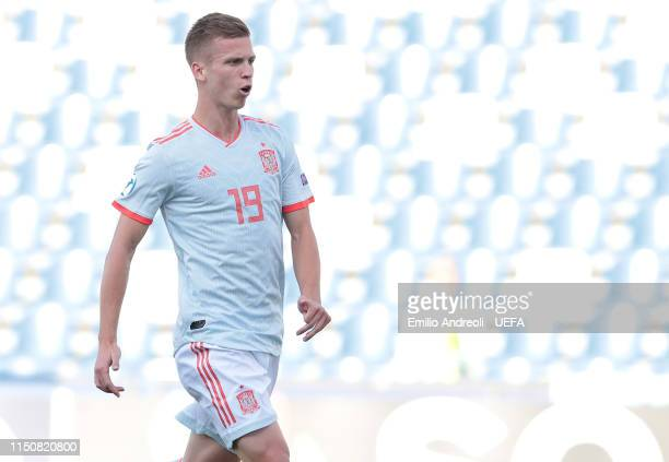 Dani Olmo of Spain celebrates after scoring the opening goal during the 2019 UEFA U21 Group A match between Spain and Belgium at Stadio Citta del...