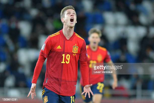 Dani Olmo of Spain celebrates after scoring their side's second goal during the FIFA World Cup 2022 Qatar qualifying match between Georgia and Spain...