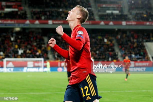 Dani Olmo of Spain celebrates goal 50 during the EURO Qualifier match between Spain v Malta on November 15 2019