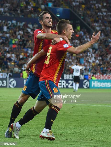 Dani Olmo of Spain celebrates with his team mate Fabian Ruiz scoring his team's second goal during the 2019 UEFA U-21 Final between Spain and Germany...