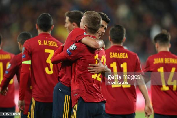 Dani Olmo of Spain celebrates with teammate Rodri after scoring his team's fifth goal during the UEFA Euro 2020 Qualifier between Spain and Malta on...