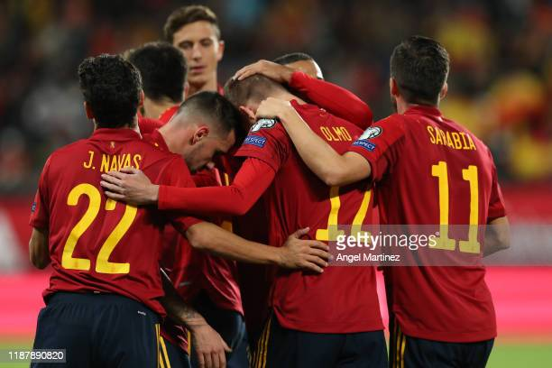 Dani Olmo of Spain celebrates with teammates after scoring his team's fifth goal during the UEFA Euro 2020 Qualifier between Spain and Malta on...