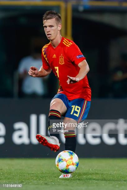 Dani Olmo of Spain controls the ball during the 2019 UEFA U21 Group A match between Spain and Poland at Renato Dall'Ara Stadium on June 22 2019 in...